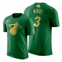 2020 St. Patrick's Day Miami Heat Dwyane Wade #3 Green Golden Limited T-shirt