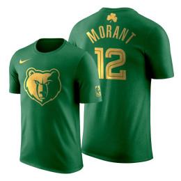 2020 St. Patrick's Day Memphis Grizzlies Ja Morant #12 Green Golden Limited T-shirt