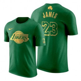 2020 St. Patrick's Day Los Angeles Lakers LeBron James #23 Green Golden Limited T-shirt