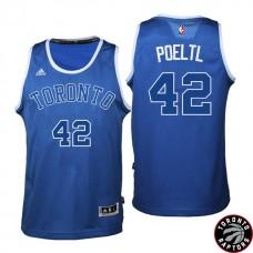 2016-17 Season Jakob Poeltl Toronto Raptors #42 Huskies New Alternate Blue Jersey