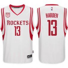2016-17 Season James Harden Houston Rockets #13 50th Anniversary Patch Home White Jersey