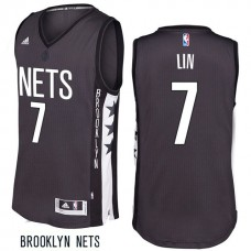 2016-17 Jeremy Lin Brooklyn Nets #7 Remix Alternate Gray New Swingman Jersey
