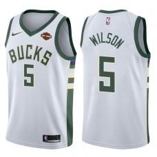 2017-18 Season D.J. Wilson Milwaukee Bucks #5 Association White Jersey