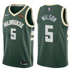 2017-18 Season D.J. Wilson Milwaukee Bucks #5 Icon Green Jersey