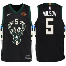 2017-18 Season D.J. Wilson Milwaukee Bucks #5 Statement Harley Black Jersey