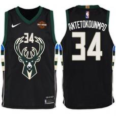 2017-18 Season Giannis Antetokounmpo Milwaukee Bucks #34 Statement Harley Black Jersey