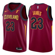 2017-18 Season LeBron James Cleveland Cavaliers #23 Icon Wine Jersey