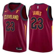 2017-18 Season LeBron James Cleveland Cavaliers #23 Icon Wine Jersey