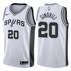 2017-18 Season Manu Ginobili San Antonio Spurs #20 Association White Jersey