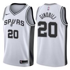 2017-18 Season Manu Ginobili San Antonio Spurs #20 Association White Jersey