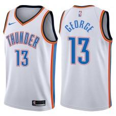 2017-18 Season Paul George Oklahoma City Thunder #13 Association White Jersey