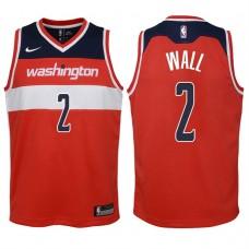 Youth 2017-18 Season John Wall Washington Wizards #2 Icon Red Swingman Jersey