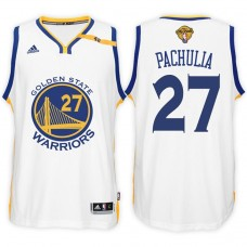 2017 NBA The Finals Patch Zaza Pachulia Golden State Warriors #27 Home White New Swingman Jersey