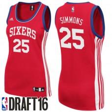 Women's Ben Simmons Philadelphia 76ers #25 2016 NBA Draft Alternate Red Jersey