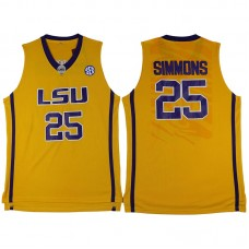 Ben Simmons NCAA LSU Tigers #25 Yellow College Basketball Jersey