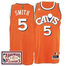 2016-17 Season Cleveland Cavaliers #5 Hardwood Classics Throwback Orange Jersey J.R. Smith