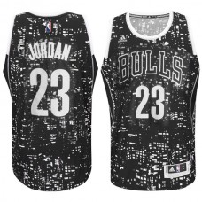 Chicago Bulls #23 Michael Jordan City Lights Black Swingman Jersey
