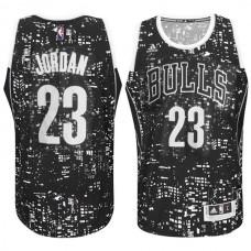 Chicago Bulls #23 Michael Jordan City Lights Black Swingman Jersey