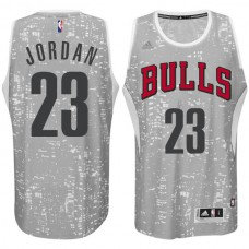 Chicago Bulls #23 Michael Jordan City Lights Gray Swingman Jersey