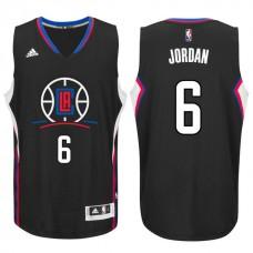 2015-16 New Season Logo DeAndre Jordan Los Angeles Clippers #6 Black Swingman Jersey