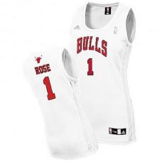 Women's Chicago Bulls #1 Derrick Rose Swingman Home White Jersey