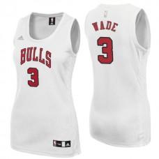 Women's Dwyane Wade Chicago Bulls #3 New Swingman Home White Jersey