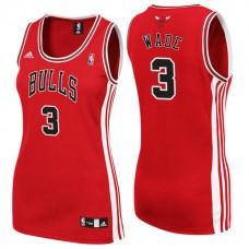Women's Dwyane Wade Chicago Bulls #3 New Swingman Road Red Jersey