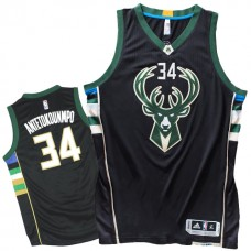 2015-16 Season Milwaukee Bucks #34 Giannis Antetokounmpo New Jersey-Black