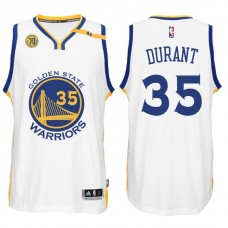 NBA Golden State Warriors #35 Kevin Durant Home White 70th Anniversary 42 Patch Jersey