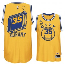 Kevin Durant Golden State Warriors #35 Hardwood Classics Throwback Yellow Jersey