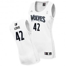 Women's Kevin Love Wolves #42 Revolution 30 Swingman White Jersey