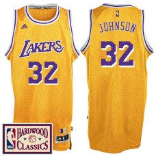 2016-17 Season Los Angeles Lakers #32 Hardwood Classics Throwback Gold Jersey Magic Johnson