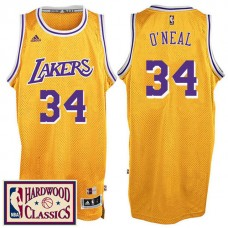 2016-17 Season Los Angeles Lakers #34 Hardwood Classics Throwback Gold Jersey Shaquille O'Neal