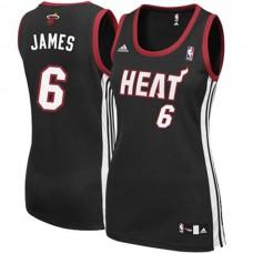 Women's LeBron James Miami Heat #6 Black Jersey