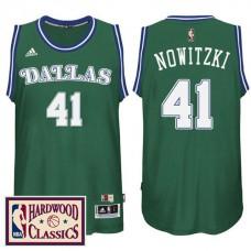2016-17 Season Dallas Mavericks #41 Hardwood Classics Throwback Green Jersey Dirk Nowitzki