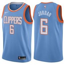 2017-18 Season DeAndre Jordan Los Angeles Clippers #6 City Edition Blue Swingman Jersey