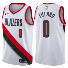 2017-18 Season Damian Lillard Portland Trail Blazers #0 Association White Swingman Jersey