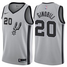 2017-18 Season Manu Ginobili San Antonio Spurs #20 Statement Gray Swingman Jersey