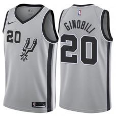 2017-18 Season Manu Ginobili San Antonio Spurs #20 Statement Gray Swingman Jersey