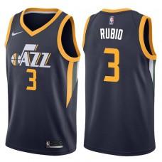 2017-18 Season Ricky Rubio Utah Jazz #3 Icon Navy Swingman Jersey