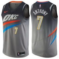 2017-18 Season Carmelo Anthony Oklahoma City Thunder #7 City Edition Gray Swingman Jersey