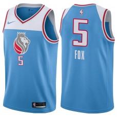 2017-18 Season De'Aaron Fox Sacramento Kings #5 City Edition Blue Swingman Jersey