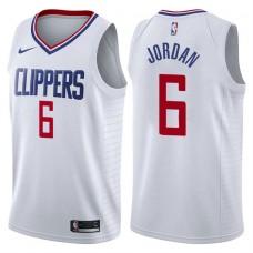 2017-18 Season DeAndre Jordan Los Angeles Clippers #6 Association White Swingman Jersey
