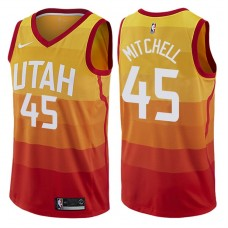 2017-18 Season Donovan Mitchell Utah Jazz #45 City Edition Red Swingman Jersey