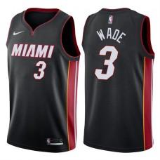 2017-18 Season Dwyane Wade Miami Heat #3 Statement Black Swingman Jersey