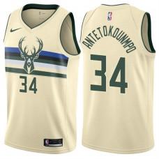 2017-18 Season Giannis Antetokounmpo Milwaukee Bucks #34 City Edition Cream Swingman Jersey