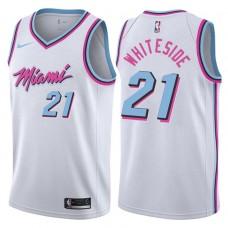 2017-18 Season Hassan Whiteside Miami Heat #21 City Edition White Swingman Jersey