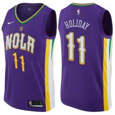 2017-18 Season Jrue Holiday New Orleans Pelicans #11 City Edition Purple Swingman Jersey