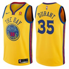 2017-18 Season Kevin Durant Golden State Warriors #35 City Edition Gold Swingman Jersey