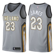 2017-18 Season LeBron James Cleveland Cavaliers #23 City Edition Gray Swingman Jersey